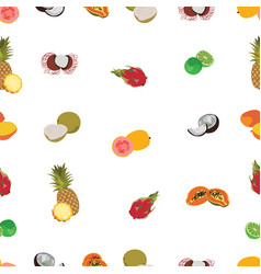 Tropic exotic fruits white seamless pattern vector