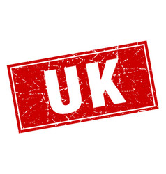 Uk red square grunge vintage isolated stamp vector