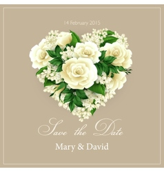 Wedding invitation with heart of flowers vector