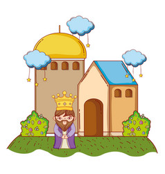 Wise man king cartoon vector
