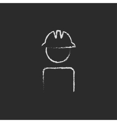 Worker wearing hard hat icon drawn in chalk vector image