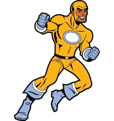 Black Superhero With Clenched Fists Fighting vector image