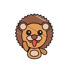 draw lion animal comic vector image vector image