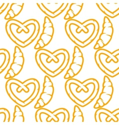 French croissants and german pretzel seamless vector image vector image
