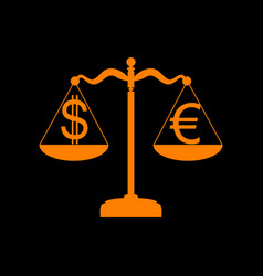 justice scales with currency exchange sign orange vector image