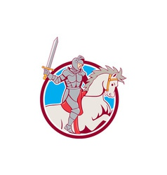 Knight Riding Horse Sword Circle Cartoon vector image vector image