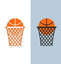 Basketball logo Ball and net for basketball games vector image
