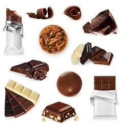 Chocolate icon set Different kinds of cacao vector image