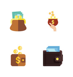 flat icon purse set of payment pouch billfold vector image vector image