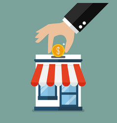hand collect the money in shop store vector image
