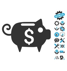Piggy Bank Flat Icon With Tools Bonus vector image vector image