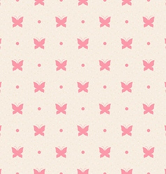 Retro seamless pattern Pink butterflies and dots vector image vector image