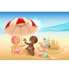 Three baby playing on beach vector image vector image