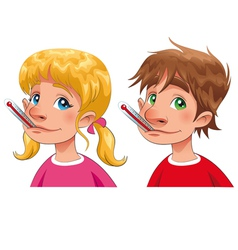 Boy and girl with thermometer vector image vector image
