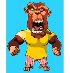 cartoon scary red monkey gorilla with an open vector image