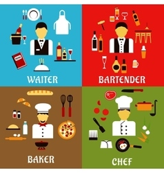 Chef baker waiter and bartender professions vector image vector image
