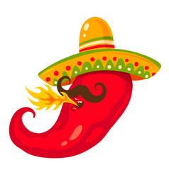 chili pepper in sombreco vector image vector image