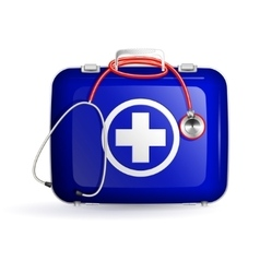 first aid box with stethoscope on white background vector image