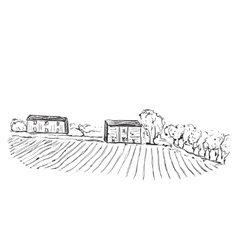 Landscape with Fields and Houses vector image vector image