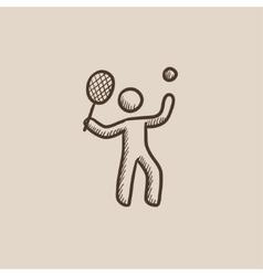 Man playing big tennis sketch icon vector image