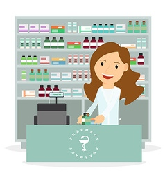 Modern flat of a female pharmacist showing vector image