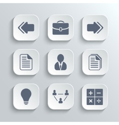 Office icons set - white app buttons vector image vector image