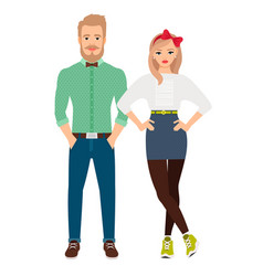 retro style dressed fashion couple vector image vector image