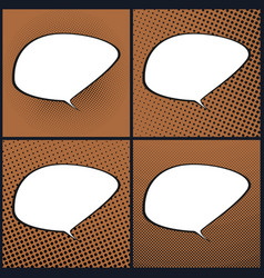set of orange pop art retro speech bubble vector image
