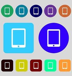 Tablet sign icon smartphone button 12 colored vector image