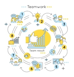 Teamwork Line Colored Concept vector image vector image