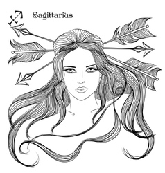 Astrological sign of Sagittarius as a lovely girl vector image vector image