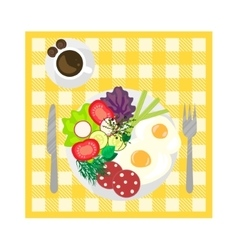 Breakfast on tablecloth top view vector image vector image