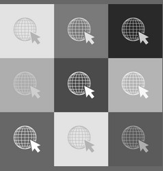 earth globe with cursor grayscale version vector image vector image