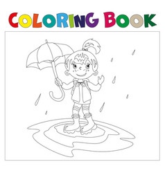 girl with umbrella coloring book vector image