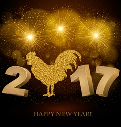 New Year 2017 golden background vector image vector image
