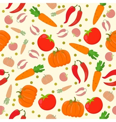 Seamless pattern with vegetables on a white vector image