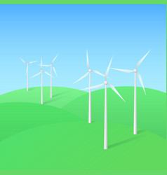 wind turbine farm vector image