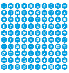 100 energy icons set blue vector