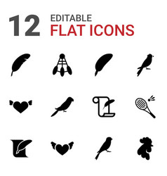 12 feather icons vector