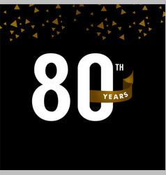 80 years anniversary number with gold ribbon vector