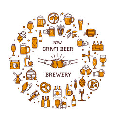 A large set of colorful icons on the topic of beer vector
