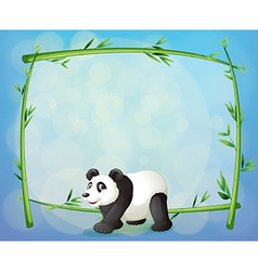A panda with a framed bamboo tree at the back vector