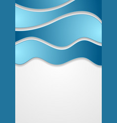 Abstract blue corporate waves on grey background vector