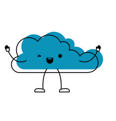 animated kawaii cloud icon flat in watercolor vector image vector image