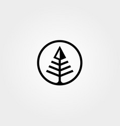 arrow pine tree logo symbol minimalist design vector image