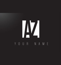 Az letter logo with black and white negative vector