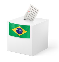 Ballot box with voting paper Brazil vector