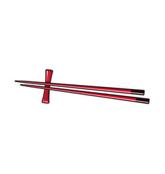 Bamboo asian chinese japanese chopstick pair vector