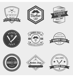 Barber shop logo set in vintage style vector
