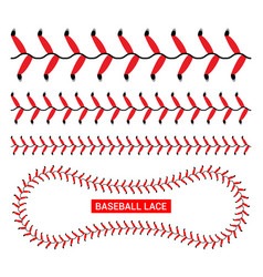 Baseball red lace seam thread base ball vector
